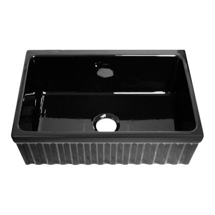WHQ330-BLACK Quatro Alcove reversible fireclay sink with fluted front apron and decorative 2    inch lip one side and 2