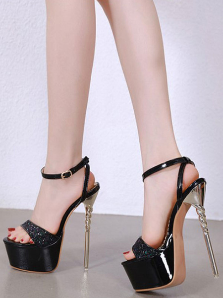 Milanoo Sexy Sandals For Woman Blond Sequined Cloth Open Toe Sexy Platform Shoes