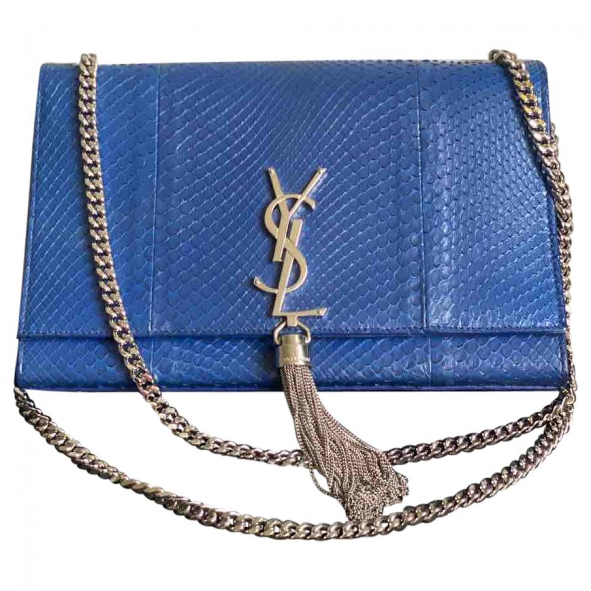 Saint Laurent Pompom Kate Blue Python handbag for Women \N