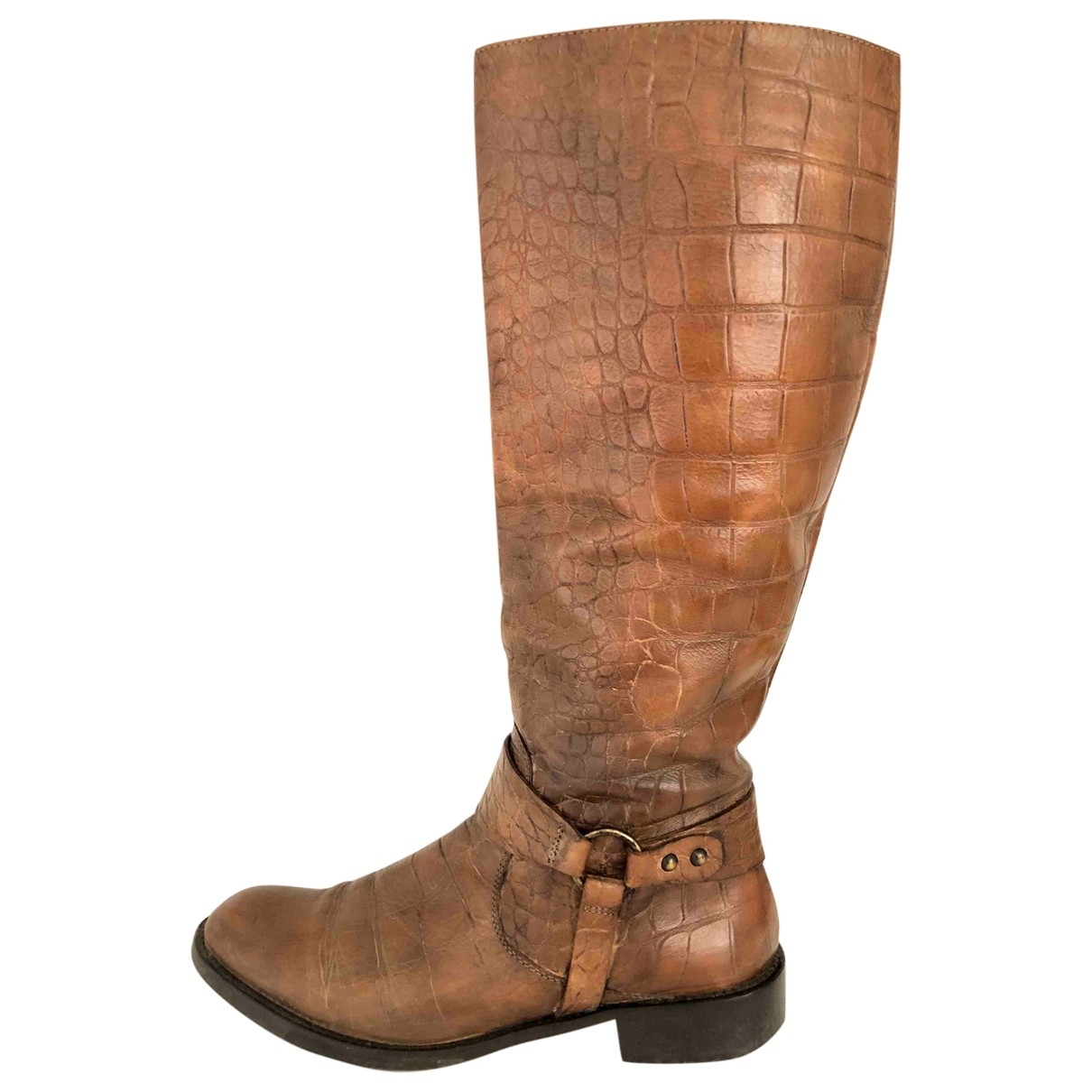 Non Signé / Unsigned Hippie Chic Brown Leather Boots for Women 40 EU
