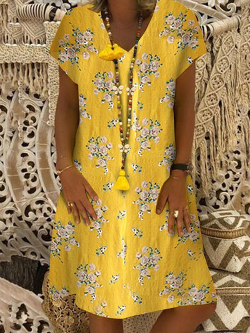 Ericdress Short Sleeve Print Travel Look Regular Casual Dress