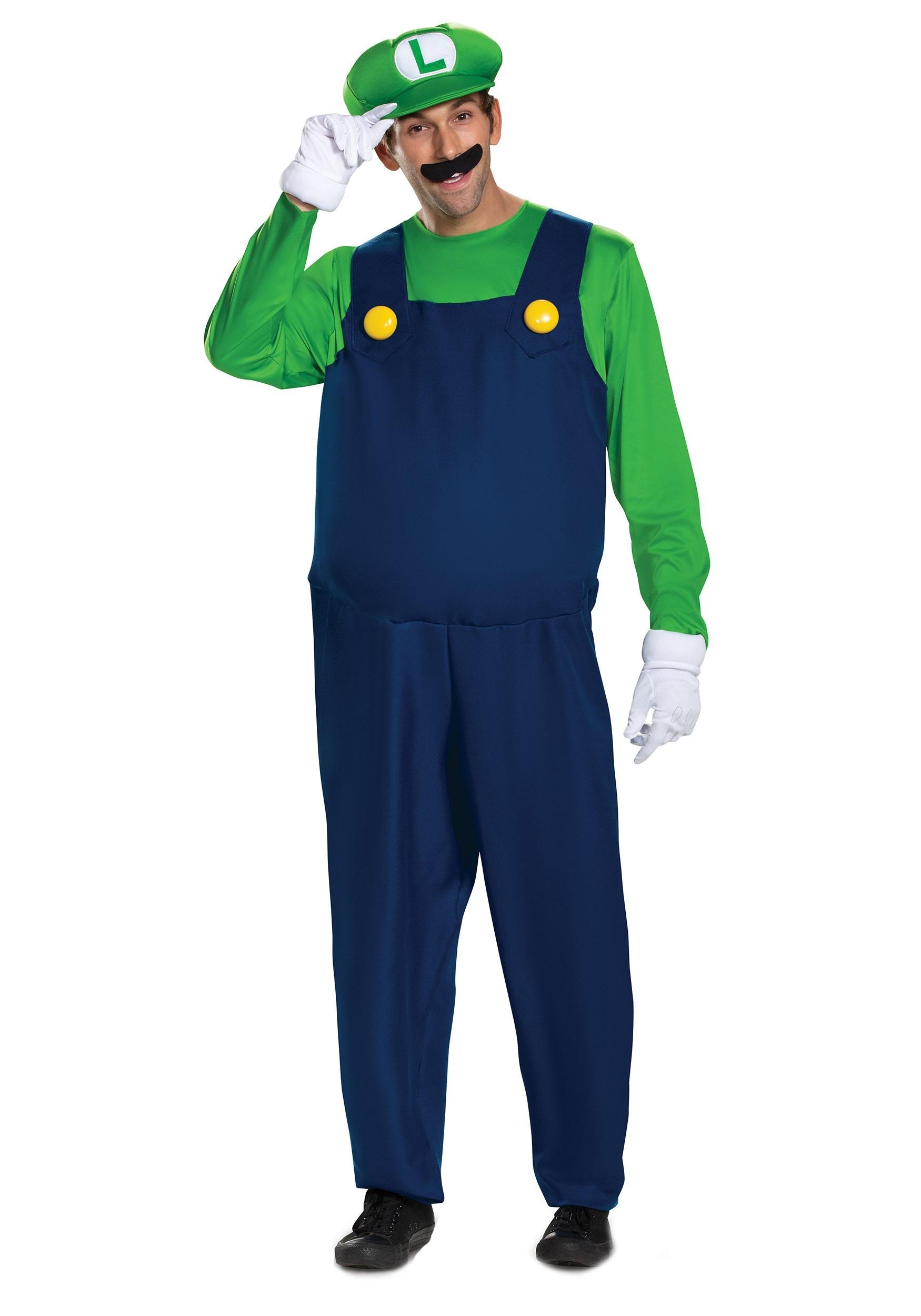 Men's Super Mario Brothers Luigi Deluxe Costume