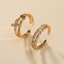 2 Stuecke Ring mit Strass Dekor