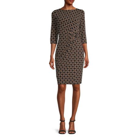 Liz Claiborne 3/4 Sleeve Plaid Sheath Dress, Medium , Black