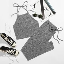 Rib-knit Halter Top & Tie Waist Leggings Set