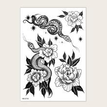 1sheet Flower Pattern Tattoo Sticker