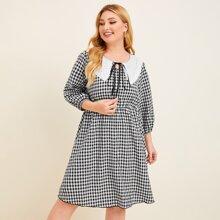 Kleid mit Kontrast Kragen, Band vorn und Karo Muster
