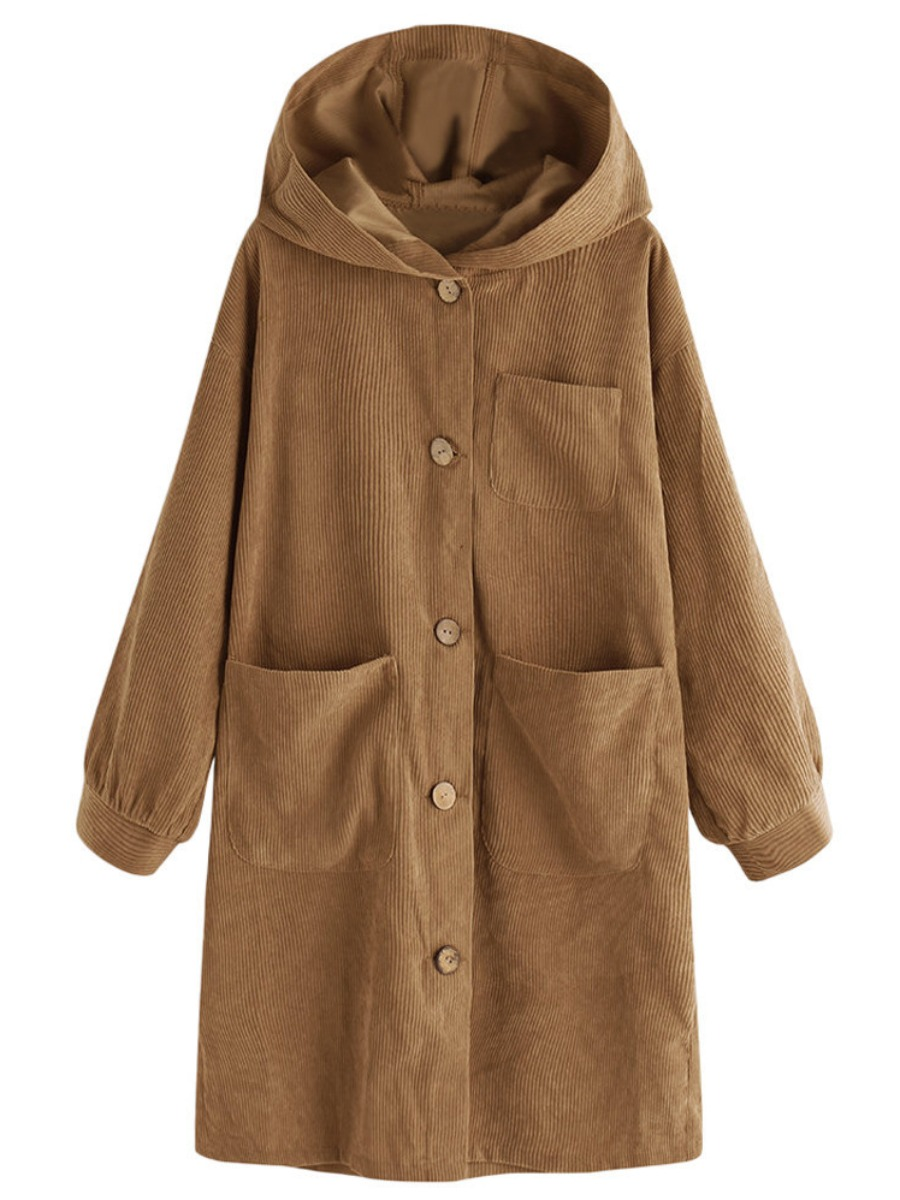 LW lovely Casual Hooded Collar Buttons Design Khaki Long Trench Coat