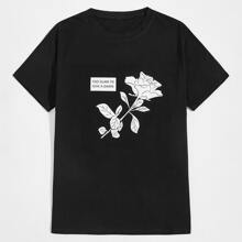 Guys Floral & Letter Graphic Tee