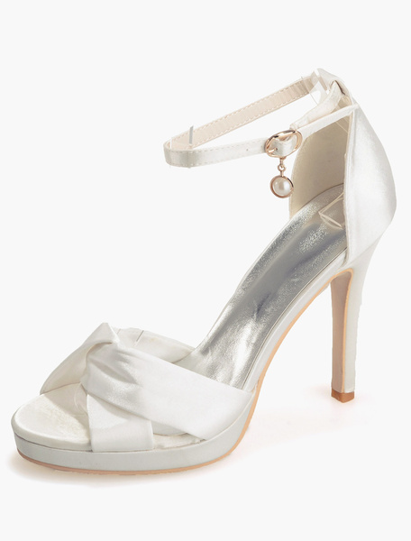 Milanoo Zapatos de novia de saten Zapatos de Fiesta de tacon de stiletto Zapatos blanco  Zapatos de boda de puntera abierta 11cm 1.5cm