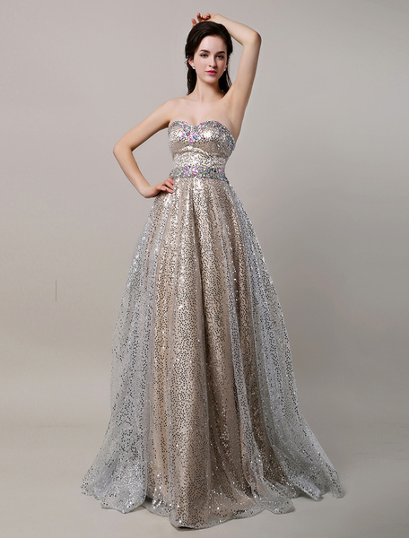 Milanoo Glitter Long Champagne Sweetheart Sequin Ball Prom Dress With Rhinestone