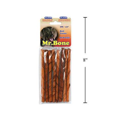 Dog Chew Twist Beef Stick Treats, 8/Pack - Mr. Bone