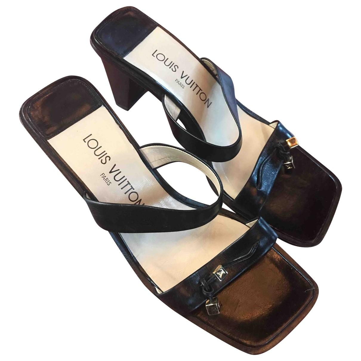 Louis Vuitton \N Black Leather Sandals for Women 38.5 EU