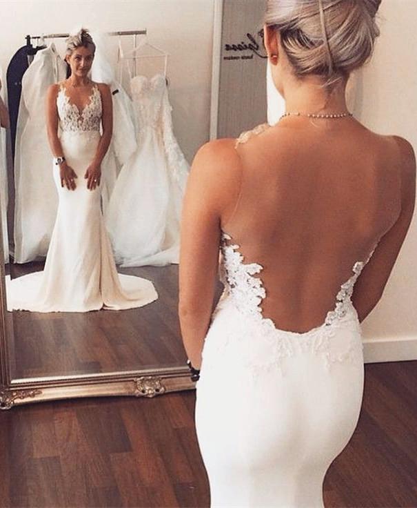 Sheer back Vestido de novia de sirena sin mangas de encaje verano vestidos de boda de playa BA3612