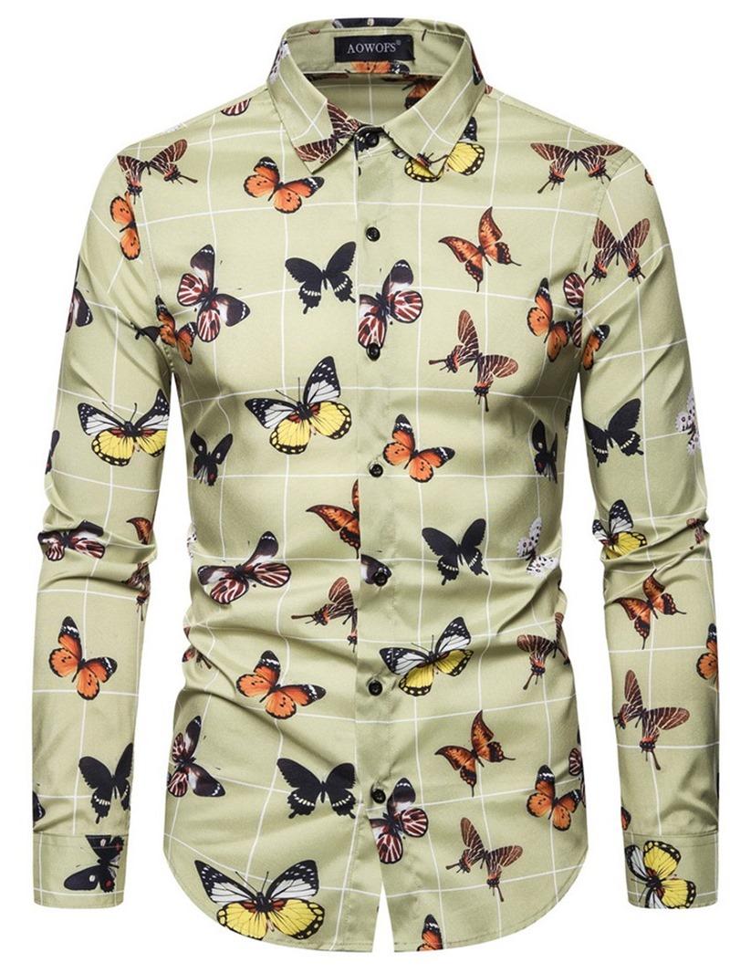 Ericdress Lapel Color Block Casual Slim Single-Breasted Mens Shirt