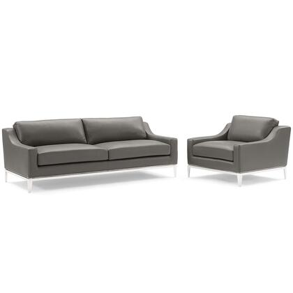 Harness Collection EEI-4198-GRY-SET Stainless Steel Base Leather Sofa & Armchair Set in Gray