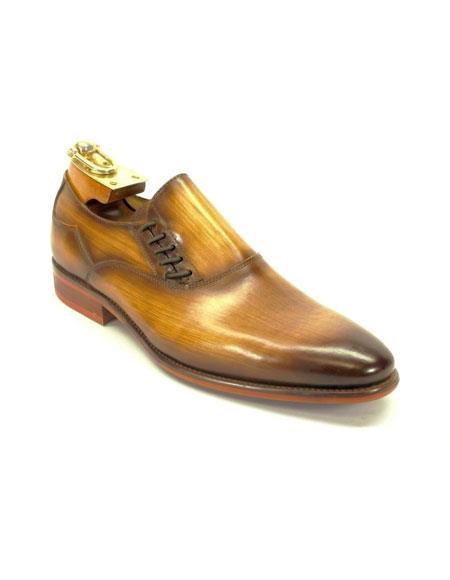 Mens Carrucci Decorative Cognac Lace-up Slip-on Loafer Shoes
