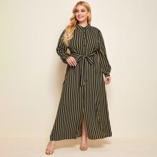 Plus Striped Print Belted Shirt Dress
