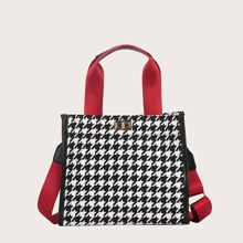 Houndstooth Satchel Bag