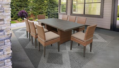 Laguna Collection LAGUNA-DTREC-KIT-8C-WHEAT Patio Dining Set With 1 Table  8 Side Chairs - 2 Sets of Wheat