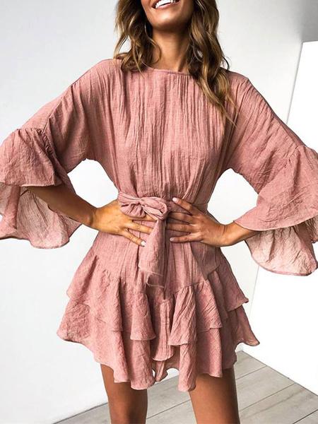 Milanoo Skater Dresses Jewel Neck 3/4 Length Sleeves Cotton Flared Sleeve Sash Ruffles Layered Flared Dress