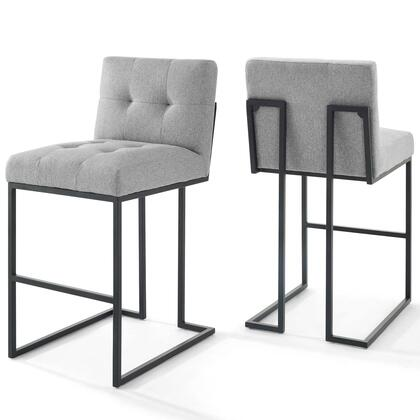Privy Collection EEI-4159-BLK-LGR Black Stainless Steel Upholstered Fabric Bar Stool Set of 2 in Black Light Gray