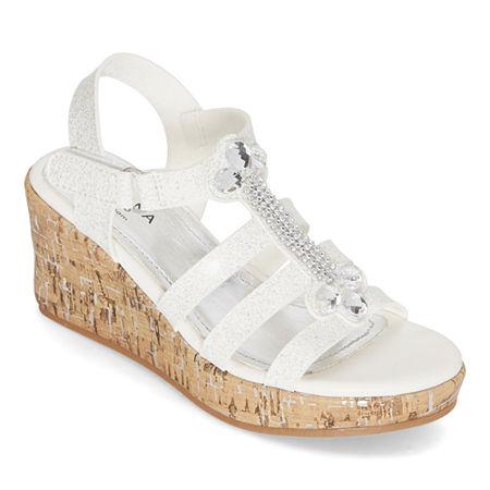 Arizona Little Kid/Big Kid Girls Stacey Wedge Sandals, 3 Medium, White