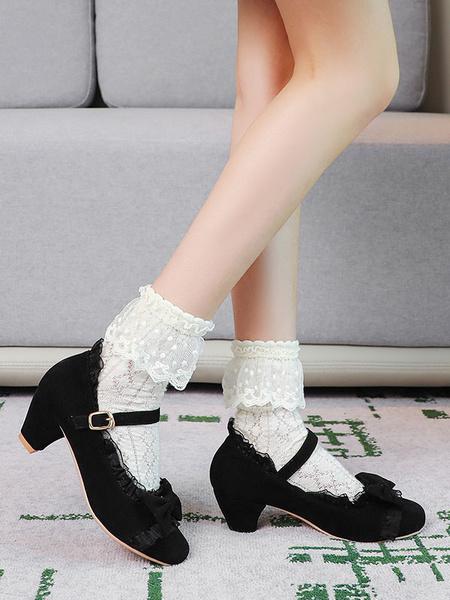Milanoo Sweet Lolita Footwear Pink Ruffles Bows Round Toe Suede Nap Lolita Shoes