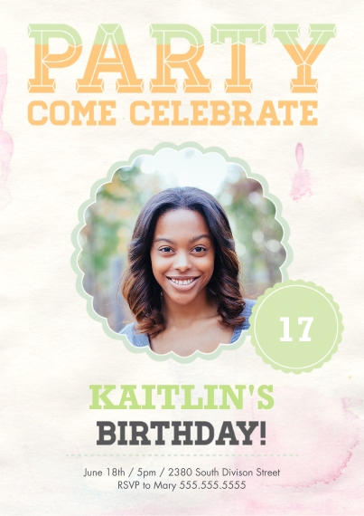 Birthday Party Invites Flat Matte Photo Paper Cards with Envelopes, 5x7, Card & Stationery -Teen Birthday Burst