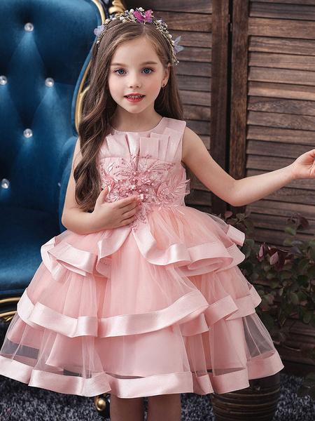 Milanoo Flower Girl Dresses Jewel Neck Tulle Sleeveless Knee Length Princess Silhouette Flowers Formal Kids Pageant Dresses