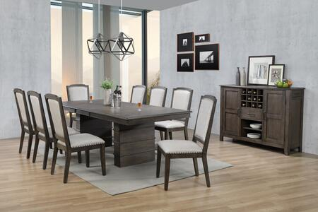 DLU-CA113-8C-SR10PC 10-Piece Dining Room Set with Expandable Dining Table + Server + 8X Dining Chairs  in Grey and