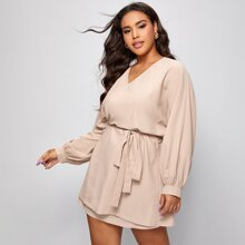 Plus Solid Wrap Dress With Belt