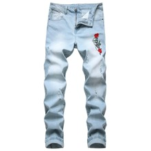 Guys Skull Rose Embroidery Jeans
