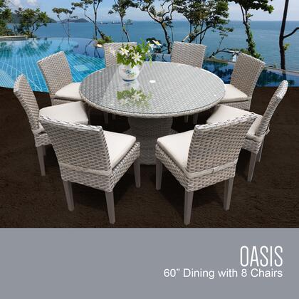 OASIS-60-KIT-8C-BEIGE Oasis 60 Inch Outdoor Patio Dining Table with 8 Armless Chairs with 2 Covers: Grey and