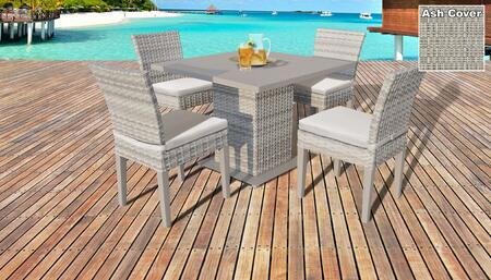 Fairmont Collection FAIRMONT-SQUARE-KIT-4ADCC-ASH Patio Dining Set with 1 Table   4 Side Chairs - Beige and Ash