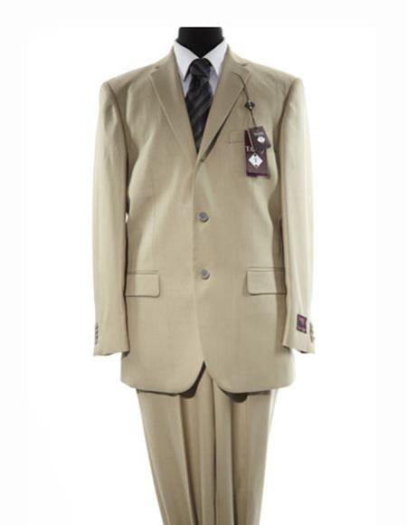 Men's Beige Three Button Single Breasted Solid Beige Suit