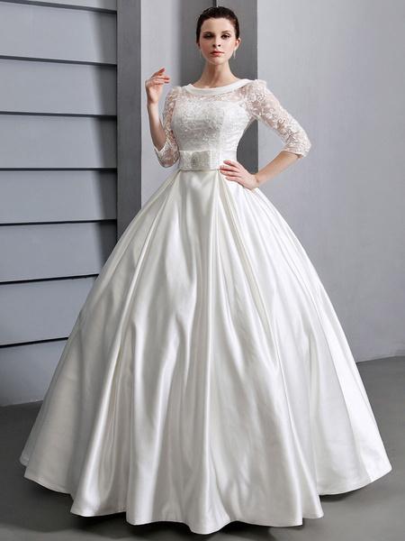 Milanoo Beautiful Ivory A-line Jewel Neck Lace Sash Satin Bridal Wedding Dress