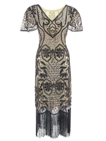 Milanoo Women Flapper Dress V Neck Short Sleeves Bodycon Dress Sequins Fringe 1920s fashion Style Outfits Great Gatsby Costume Retro 20s party Dress