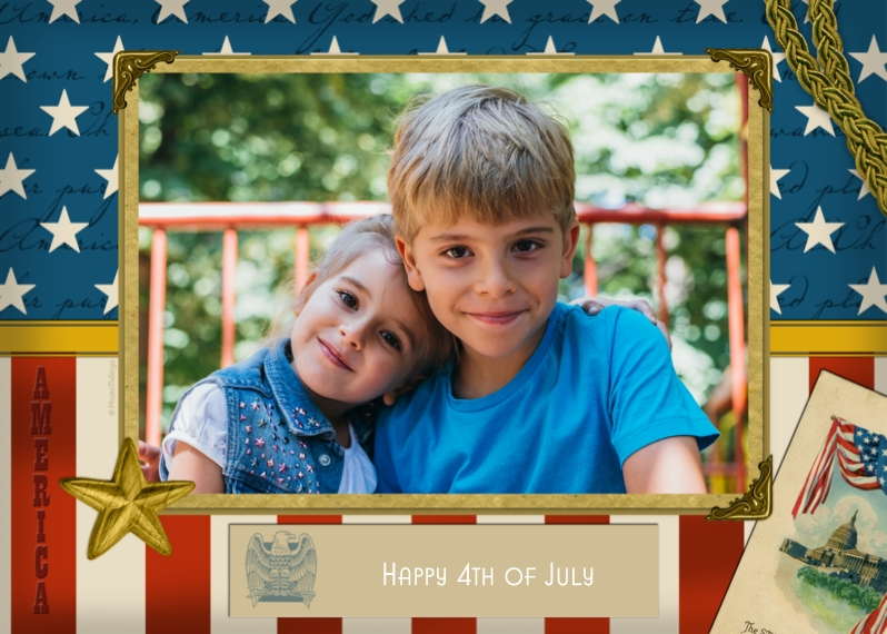 4th of July Photo Cards 5x7 Cards, Premium Cardstock 120lb with Scalloped Corners, Card & Stationery -Patriotic Border