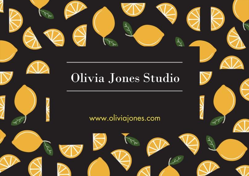Retail & Food Flat Business Greeting Cards, Business Printing -Lemons Pattern