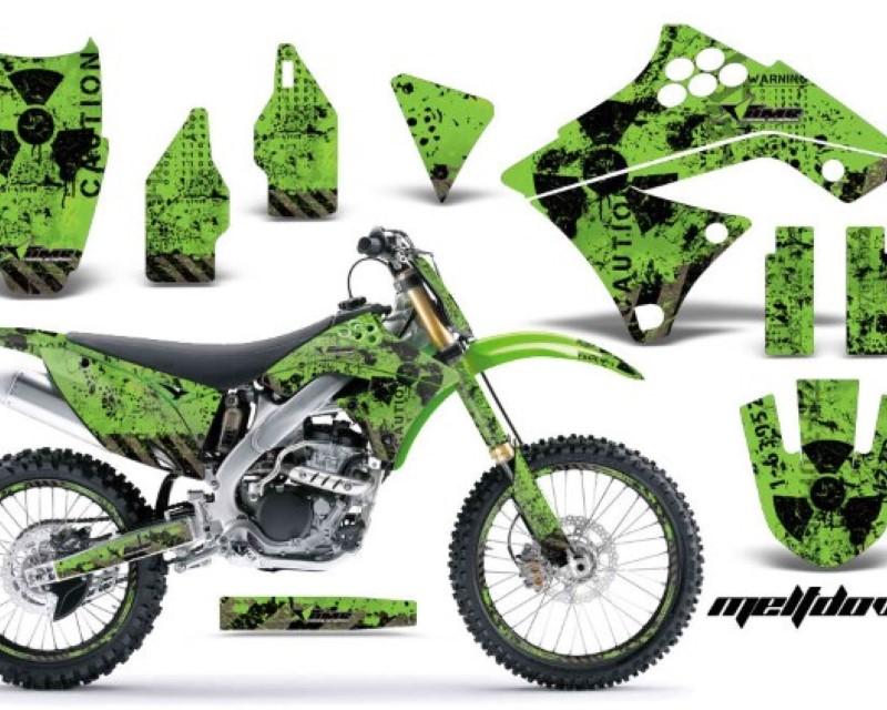 AMR Racing Graphics MX-NP-KAW-KX250F-09-12-MD K G Kit Decal Sticker Wrap + # Plates For Kawasaki KX250F 2009-2012áMELTDOWN BLACK GREEN