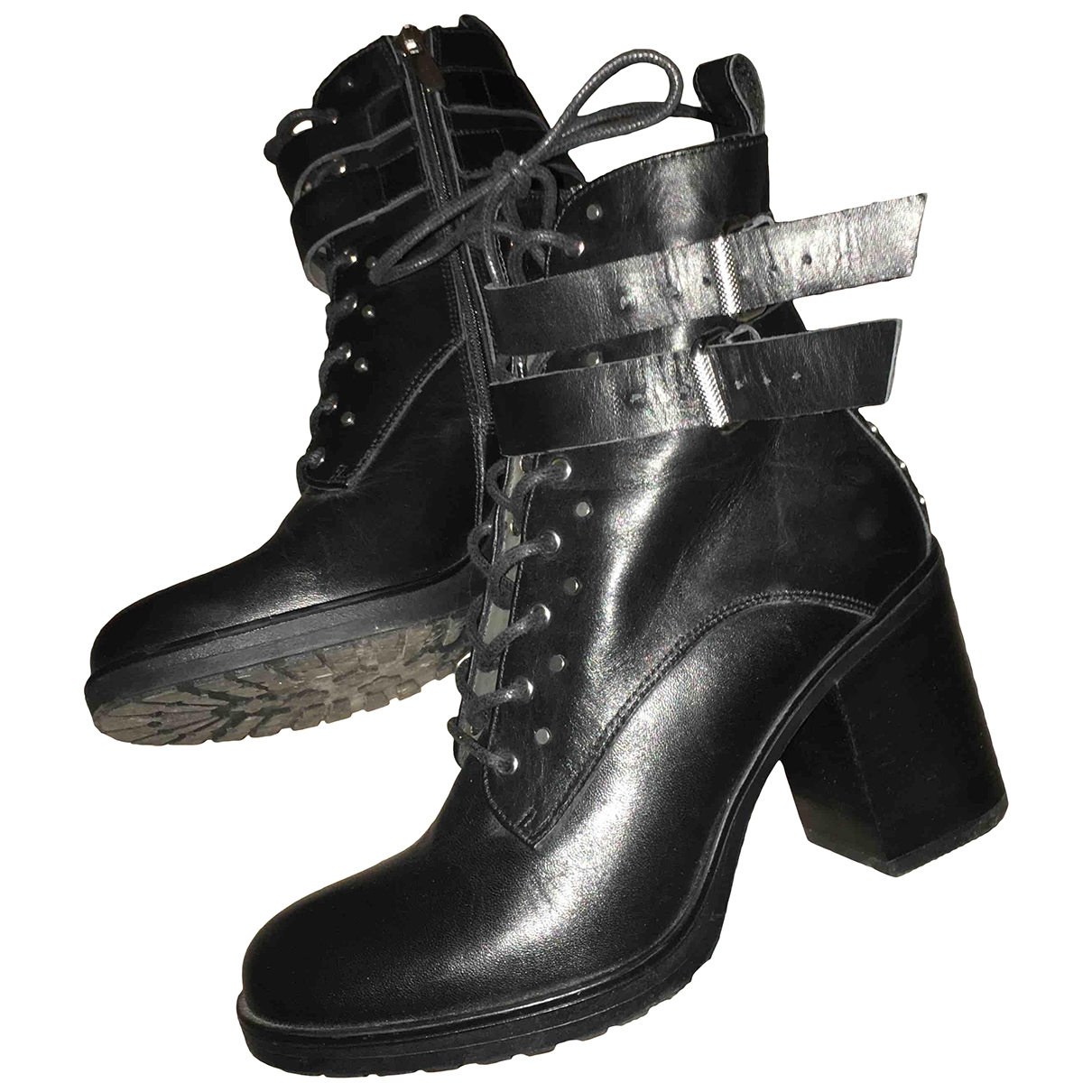 Janet & Janet - Boots   pour femme en cuir - noir