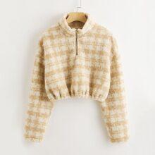 Crop Teddy Sweatshirt mit Karo Muster und Reissverschluss vorn