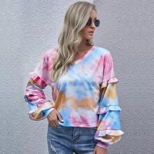 Tie Dye Print Ruffle Trim Sweatshirt