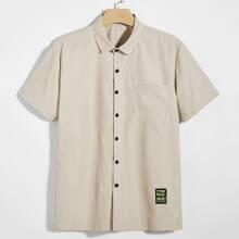 Men Patched Pocket Front Shirt
