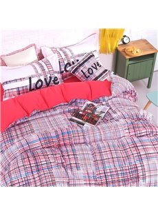 Thickly Dotted Plaid Pattern 4-Piece Polyester Bedding Sets/Duvet Cover