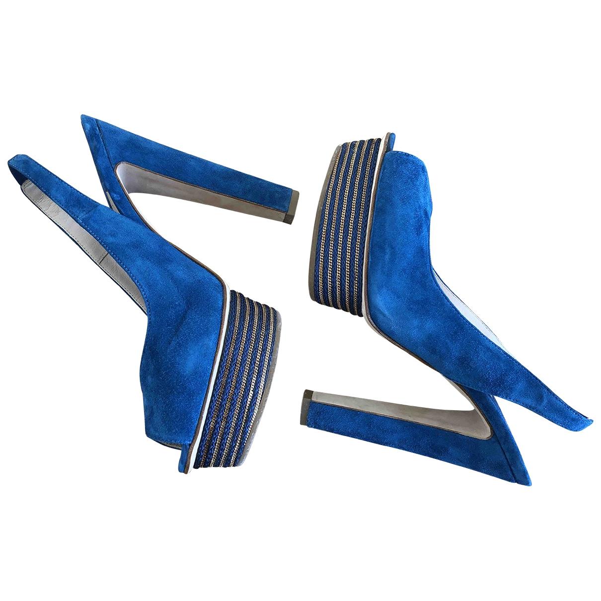 Le Silla - Sandales   pour femme en suede - bleu