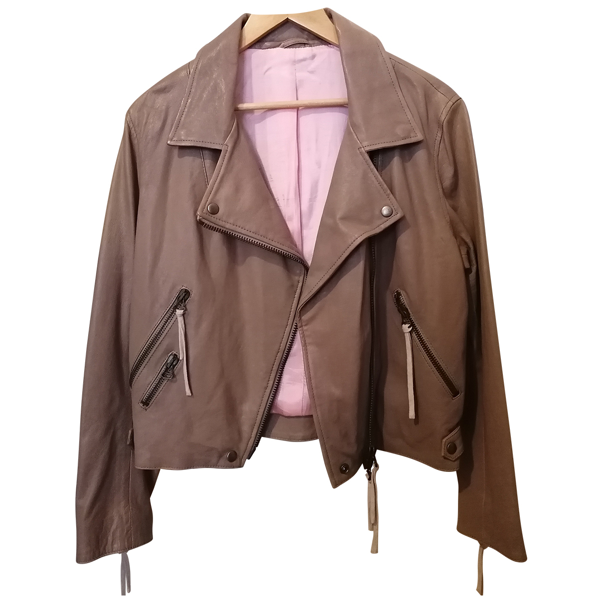 Acne Studios N Beige Leather Leather jacket for Women 40 IT