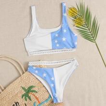 Star Contrast Strap Bikini Swimsuit