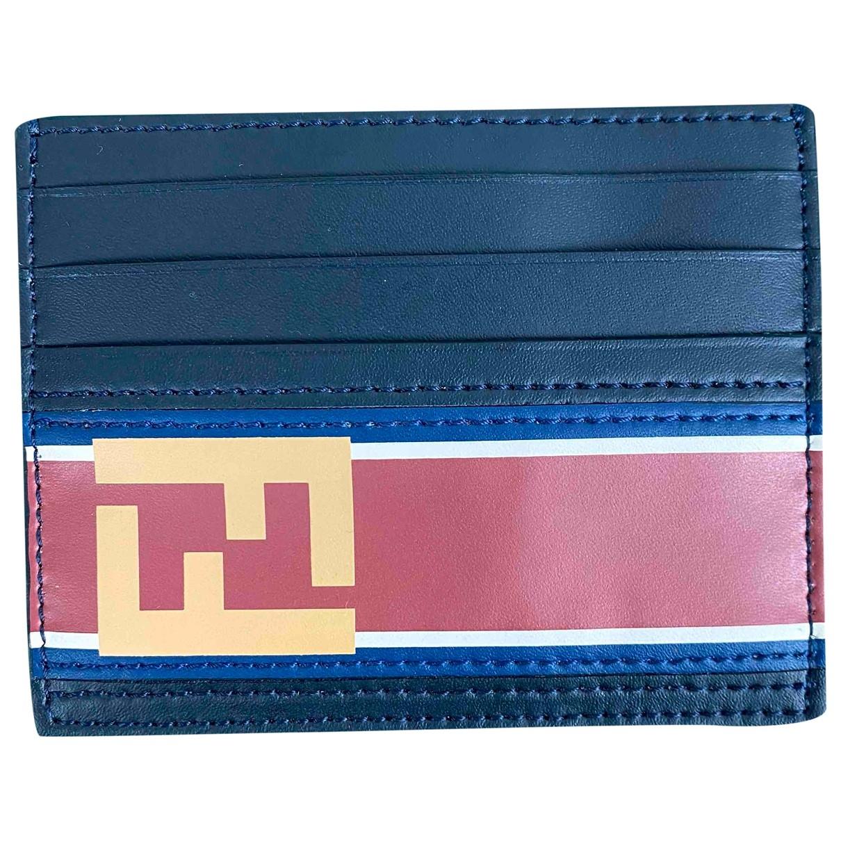 Fendi \N Blue Leather Small bag, wallet & cases for Men \N